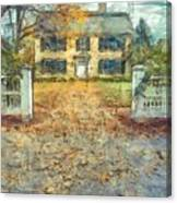 Classic Colonial Home In Autumn Pencil Canvas Print