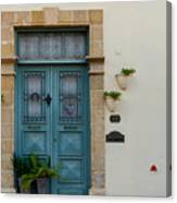 Classic House Entrance In Old Nicosia Canvas Print