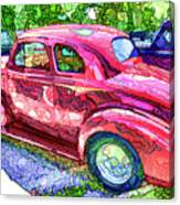 Classic Red Vintage Car Canvas Print
