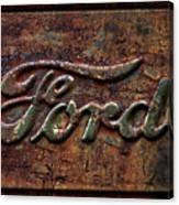 Classic Rusty Ford Pickup Truck Logo Detail Canvas Print