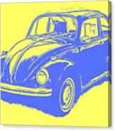 Classic Vw Beetle Tee Blue Ink Canvas Print
