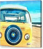 Classic Vw Camper On The Beach Canvas Print