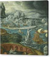 Classical Landscape With Ships Running Before A Storm Towards A Classical Harbour Probably Corinth Canvas Print