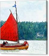 Classical Wooden Boat Tacksamheten Canvas Print