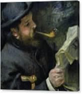 Claude Monet Reading A Newspaper Canvas Print
