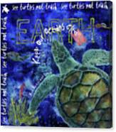 Clean Oceans Sea Turtle Art Canvas Print