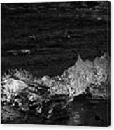 clear ice washing up on the black sand beach at Jokulsarlon Iceland Canvas Print