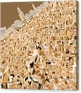 Cleveland Map Sepia Canvas Print