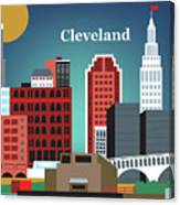 Cleveland Ohio Horizontal Skyline Canvas Print