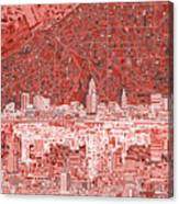 Cleveland Skyline Abstract 10 Canvas Print