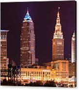 Cleveland Skyline Night Color - Downtown Buildings Canvas Print