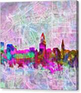 Cleveland Skyline Watercolor Canvas Print