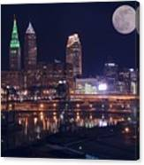 Cleveland With Full Moon Canvas Print