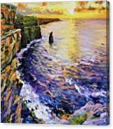 Cliffs Of Moher At Sunset Canvas Print