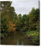 Clinton River In Autumn Cloudy Day Canvas Print