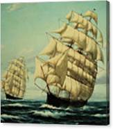 Clipper Ships Racing To Port Canvas Print