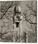 Clock Tower In Black And White Canvas Print
