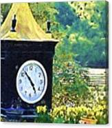 Clock Tower In The Garden Canvas Print