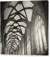 Cloisters Of Basel Munster Switzerland In Black And White  Canvas Print