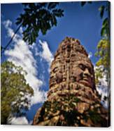 Cloning Out Tourists At Ta Prohm Temple, Angkor Archaeological Park, Siem Reap Province, Cambodia Canvas Print