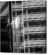 Close Up Of Black And White Glass Building Canvas Print