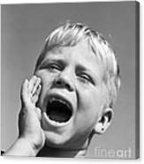 Close-up Of Boy Shouting, C.1950s Canvas Print