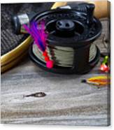 Close Up Of Fly Reel With Fly Jig Hanging From Spool  Canvas Print