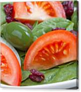 Close Up Of Fresh Spinach Salad On White Plate  Canvas Print