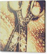 Close Up Of Jewellery Scissors Of Bronze Canvas Print