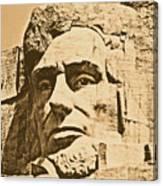 Close Up Of President Abraham Lincoln On Mount Rushmore South Dakota Rustic Digital Art Canvas Print