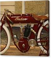 close up of red Indian motorcycle   # Canvas Print