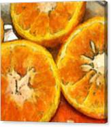 Close Up Of The Cut Section Of Some Oranges Canvas Print