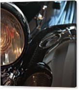 Close Up On Black Shining Car Round Light Canvas Print