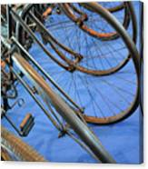 Close Up On Many Wheels From Bicycles  Canvas Print