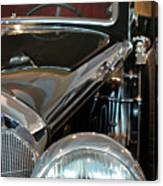 Close Up On Vintage Black Shining Car Canvas Print