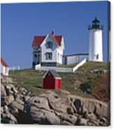 Close Up View Of A Lighthouse Cape Neddick Maine Canvas Print