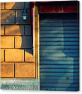 Closed Shop Door At Sunset Canvas Print