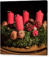 Closeup Of An Advent Wreath, Unlit Candles Canvas Print