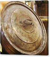Closeup of Antique Pot and Hurricane Lantern Canvas Print
