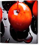 Closeup Of Red Candy Apple On Stick Canvas Print