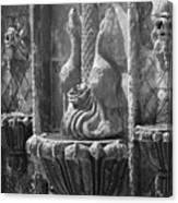 Closeup of Terracotta Water Fountain In Black and White La Quinta Art District Canvas Print