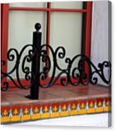 Closeup of Window Decorated with Terracotta Tiles and Wrought Iron Photograph by Colleen Canvas Print