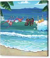 Clothesline At The Beach Canvas Print