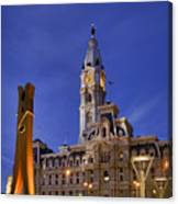Clothespin And City Hall Canvas Print