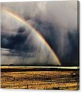 Cloud Burst And Rainbow Early Spring Storm Canvas Print