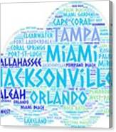 Cloud Illustrated With Cities Of Florida State Canvas Print