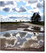 Cloud Reflection In Puddle Canvas Print