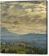 Clouds And Sun Rays Over Mount Hood And Hood River Oregon Canvas Print