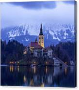 Clouds Over Lake Bled Canvas Print