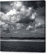 Clouds Over Masonboro Island In Black And White Canvas Print